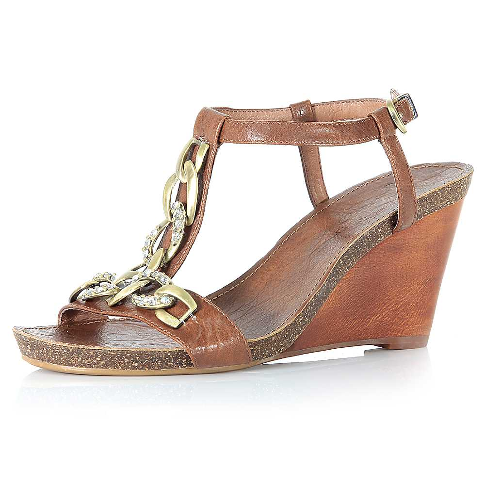 Moda In Pelle t-bar wedge sandals   The